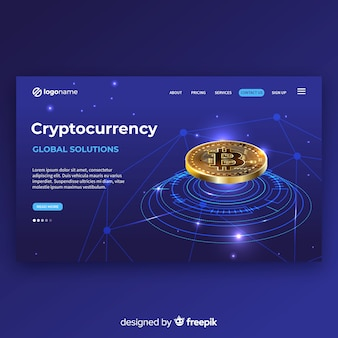 Realistic cryptocurrency landing page template