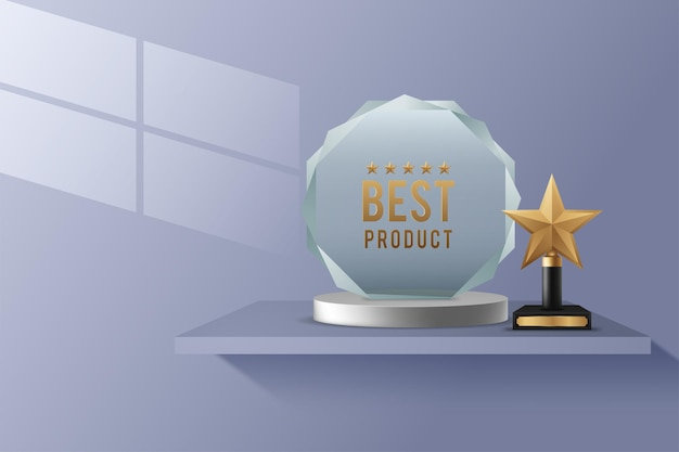 Realistic crystal glass awards with text