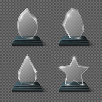 Realistic crystal trophy, glass awards set. glass trophy transparency plate, panel of glass