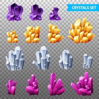 Realistic crystals transparent set