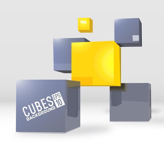 Realistic cubes background concept