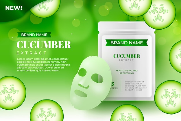 Realistic cucumber sheet mask ad