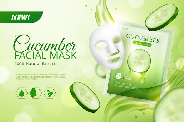 Realistic cucumber sheet mask advertise