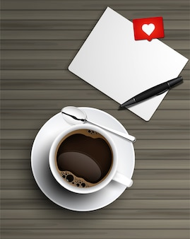 Realistic cup of black coffee with spoon and saucer top view and note paper on wooden background.
