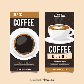 Realistic cup of coffee banner