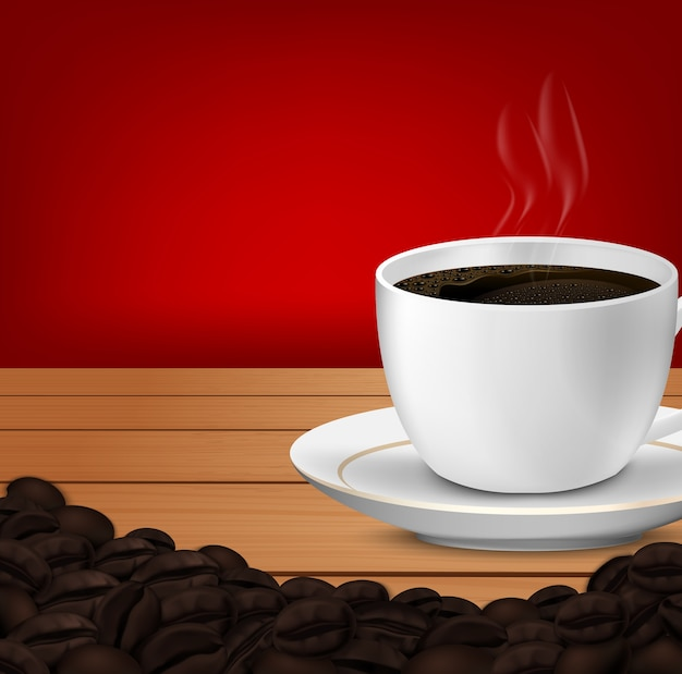 Realistic of cup of coffee and coffee beans