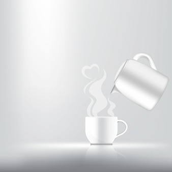Realistic a cup of coffee, tea or hot milk for drink product with heart smoke