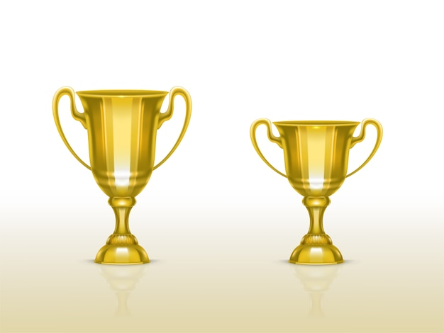 Realistic cup, golden trophy for winner of competition, championship.