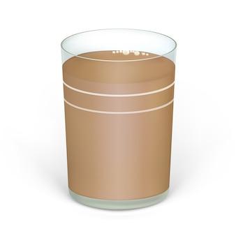코코아 또는 초콜릿 우유의 현실적인 컵