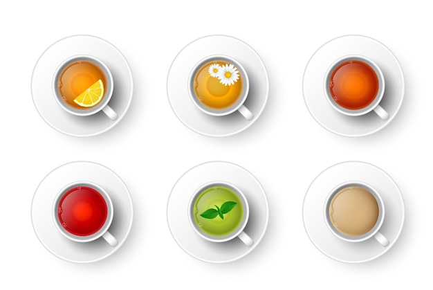 뜨거운 향기로운 음료 세트의 현실적인 컵입니다. 그린, 블랙, 허브 카모마일 차, 루이보스 홍차, 레몬 차, 민트, 우유가 든 마살라 차, 커피 윗면을 곁들인 찻잔