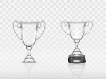 Realistic cup, transparent glass trophy for winner of competition, championship.