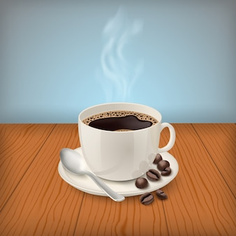 Realistic cup with black classic espresso on the table
