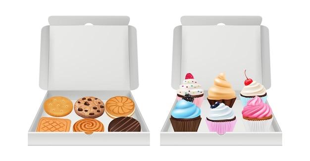 현실적인 컵 케이크와 쿠키. 비스킷 머핀 포장, 크림 및 초콜릿 빵집 제품 흰색 상자에