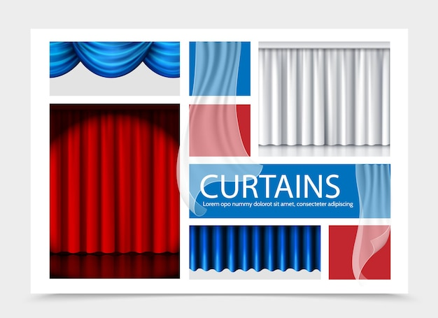 Realistic curtains composition with blue white red beautiful curtains of different texture illustration