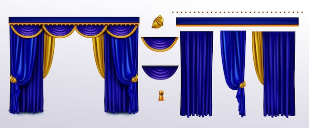 Realistic curtains set, blue cloth with gold ties