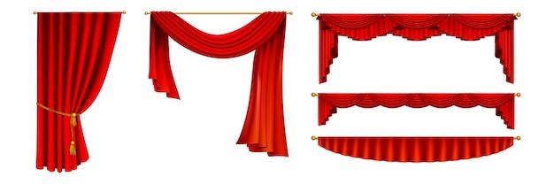 현실적인 커튼 세트. 리얼리즘 스타일의 컬렉션 그려진 고립 된 빨간색 극장 슬라이딩 커튼. 영화 시사회 그래픽 템플릿 패턴에 다른 형태와 크기의 오페라 커튼의 그림.