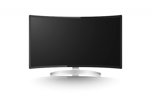 Realistic curved monitor, screen isolated