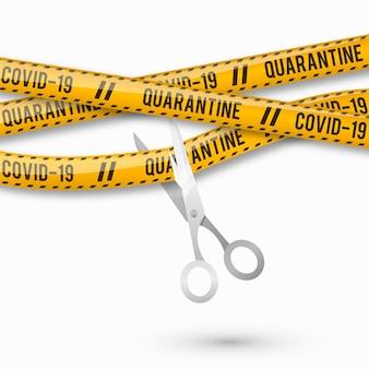 Realistic cut quarantine tape with scissors