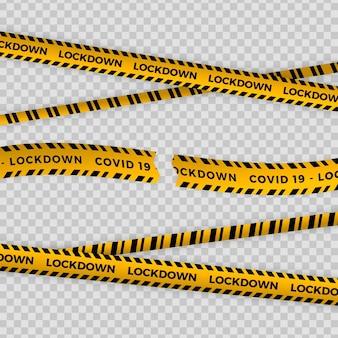 Realistic cut quarantine tape