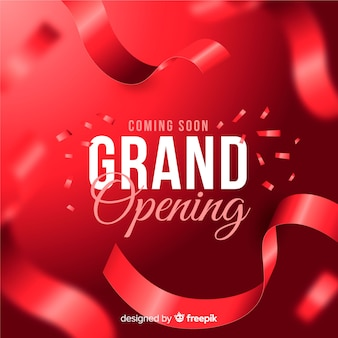 Realistic cut ribbon grand opening background