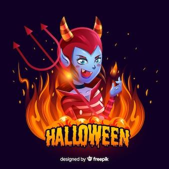 Realistic cute halloween satan