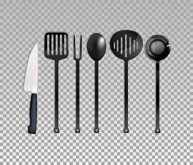 Realistic cutlery set isolated on background. vector