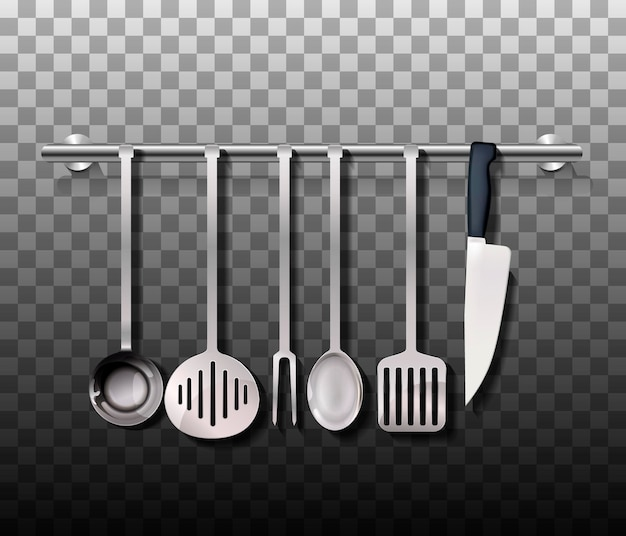 Realistic cutlery set. silver or steel kitchen utensil isolated on background. vector