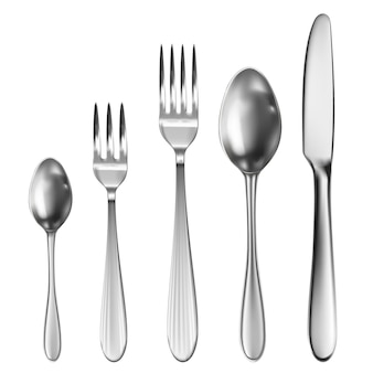 Realistic cutlery set with table knife, spoon, fork, tea spoon and fish spoon.