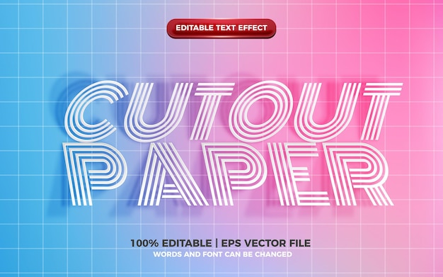 Realistic cutout paper editable text effect