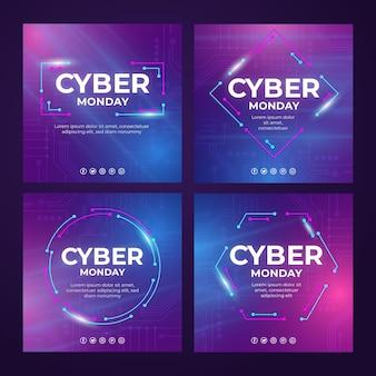 Raccolta di post instagram cyber lunedì realistici con gradiente cyber realistico