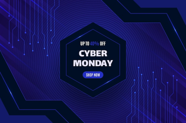 Realistic cyber monday background in futuristic style