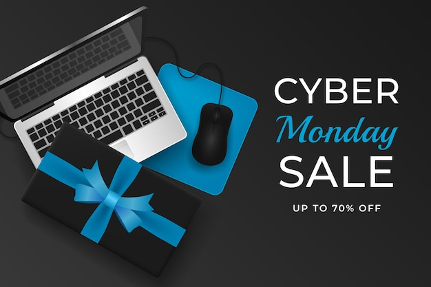 Realistic cyber monday background