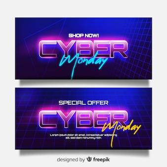 Realistic cyber monday banners futuristic design