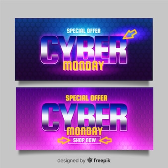 Realistic cyber monday banners in gradient shades
