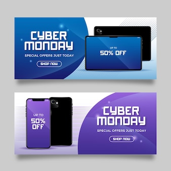Realistic cyber monday banners template