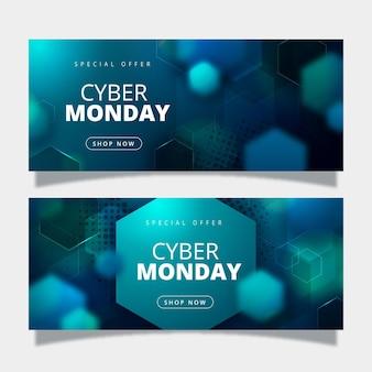 Modello realistico di banner cyber lunedì