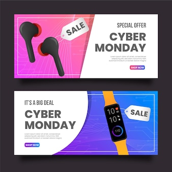 Realistic cyber monday banners