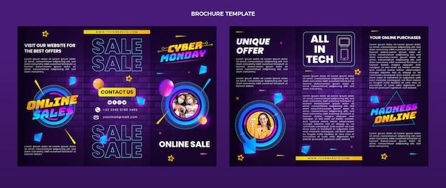 Реалистичный шаблон брошюры киберпонедельника