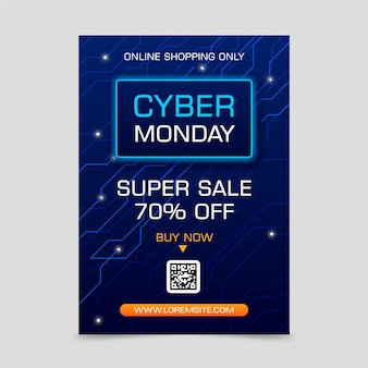 Realistic cyber monday flyer template