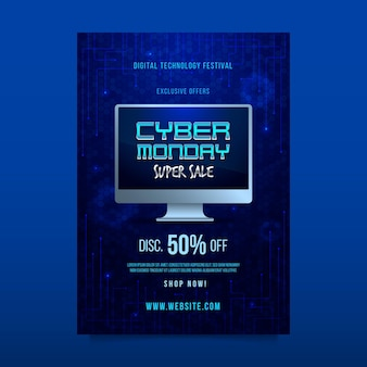 Realistic cyber monday flyer template Free Vector