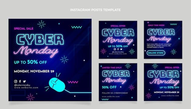 Raccolta realistica di post instagram del cyber lunedì