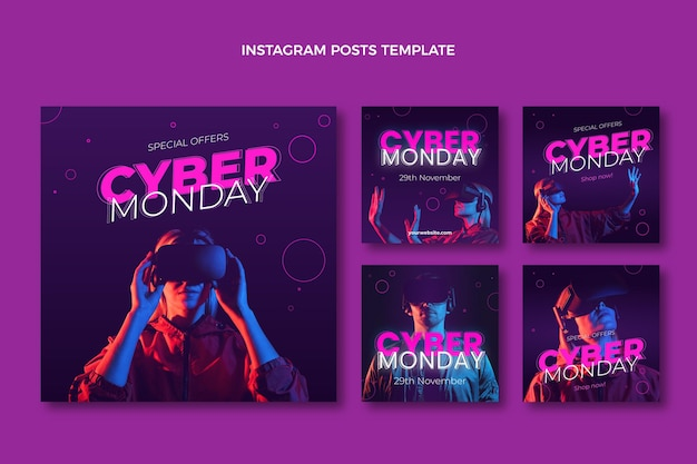 Realistic cyber monday instagram posts collection