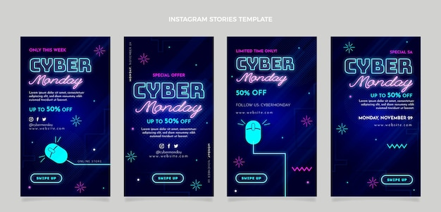 Realistic cyber monday instagram stories collection