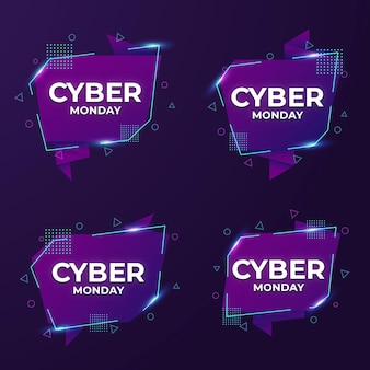 Realistic cyber monday labels collection