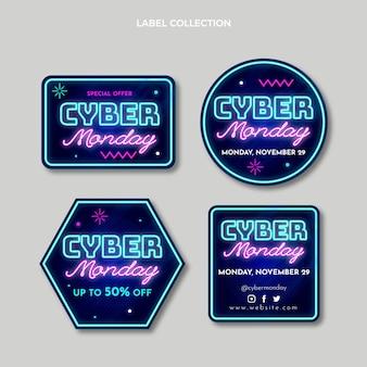 Collezione di etichette realistiche del cyber lunedì