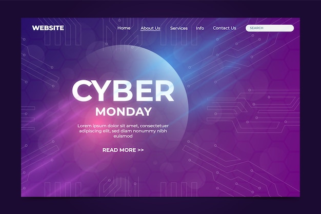 Realistic cyber monday landing page template