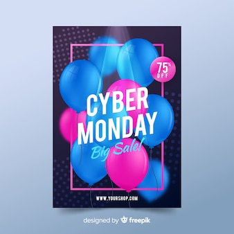 Realistic cyber monday poster template