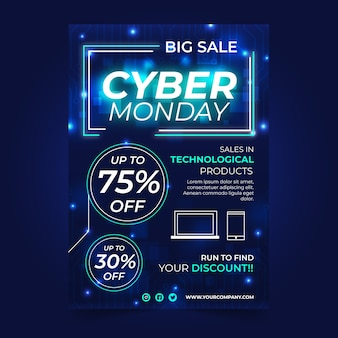 Реалистичные кибер понедельник шаблон постера
