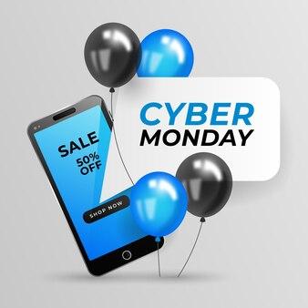 Illustrazione realistica di vendita del cyber lunedì