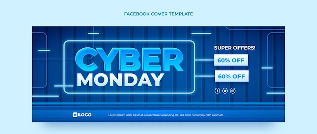 Realistic cyber monday social media cover template